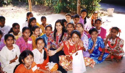 Sarita with her sponsored daughters