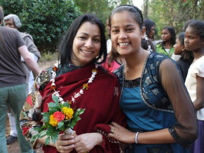 Sarita getting farewell flowers