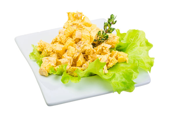 Curried chicken salad on lettuce