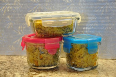kitchari in tupperware boxes