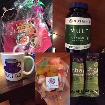 Ramadan inspired basket with items from Nutrimin Canada, Tea Indina, SmoreTreats & the pamperedmuslimah
