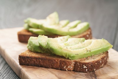 open sandwiches with avocado and spices, shallow focus
