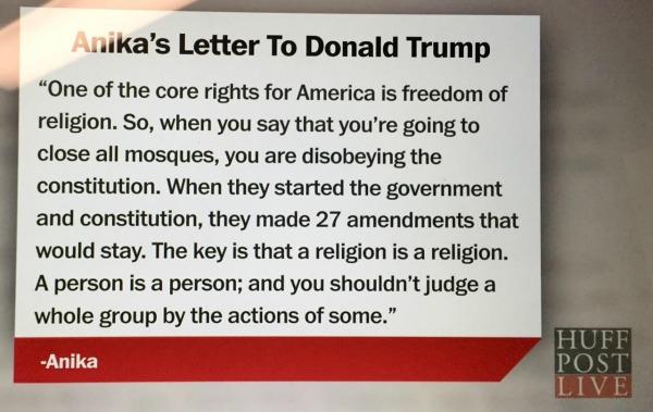 Anika Thakkar's letter excerpt on Huffington Post Live
